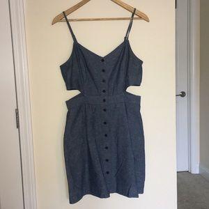 Madewell Chambray Cutout Button Up Cami Mini Dress